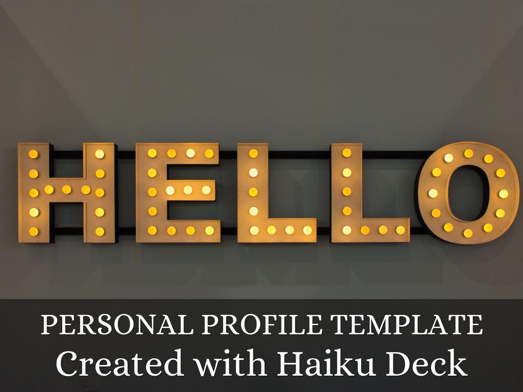 Copia di Personal Profile Template