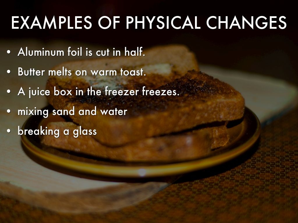 physical change Physical change definition, a usually reversible change in the physical properties of a substance, as size or shape: freezing a liquid is a physical change see more.