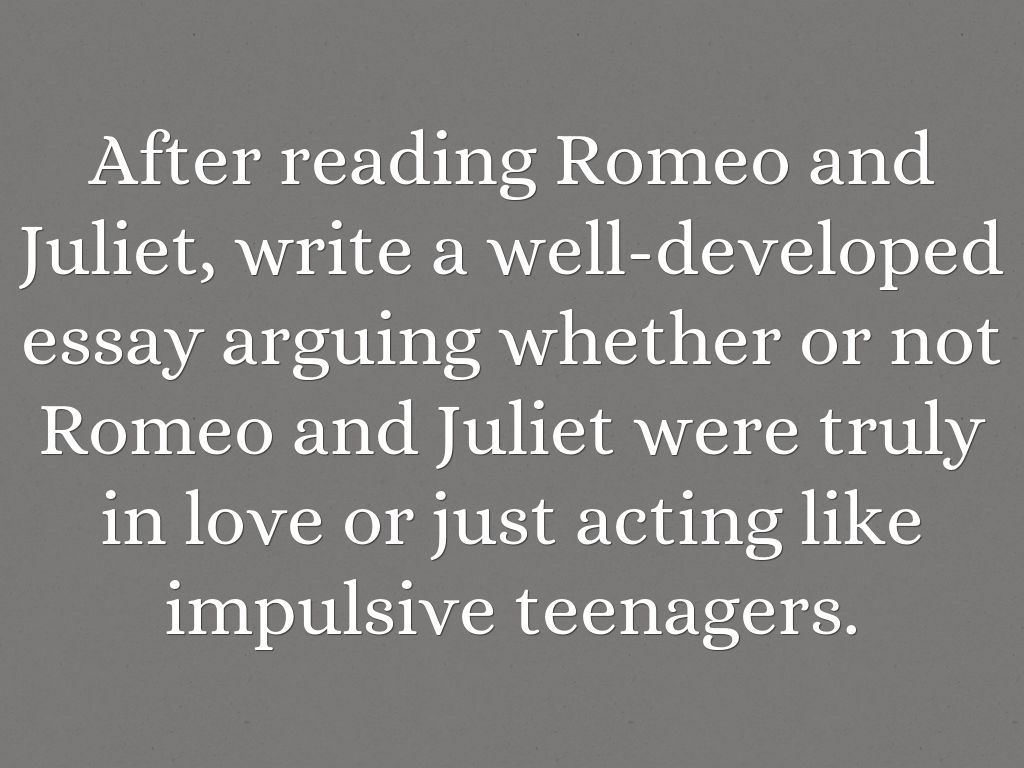 romeo and juliet is about love essay