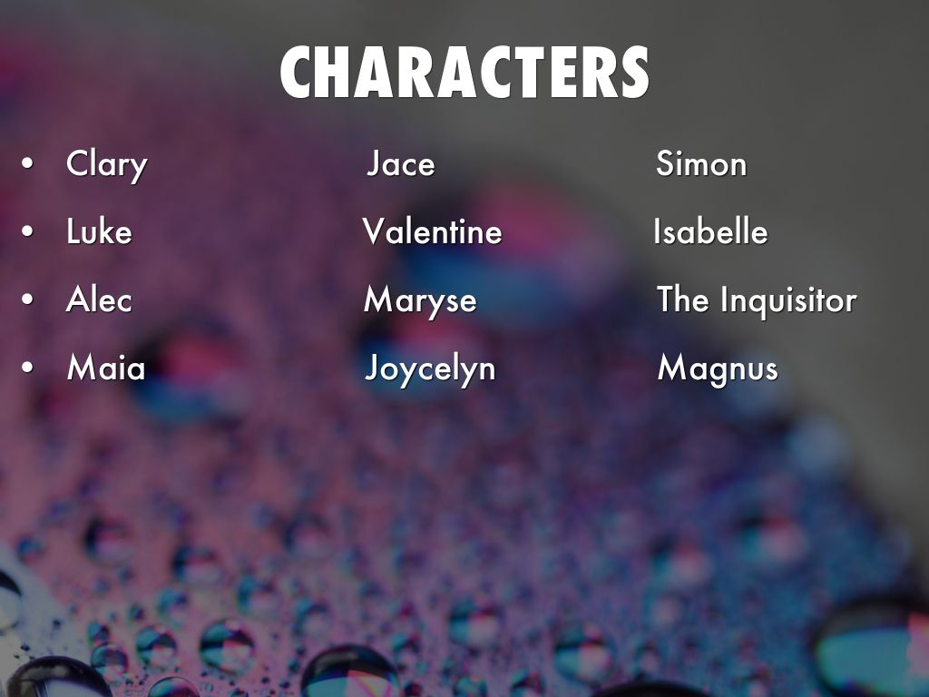 city of ashes characters - photo #1