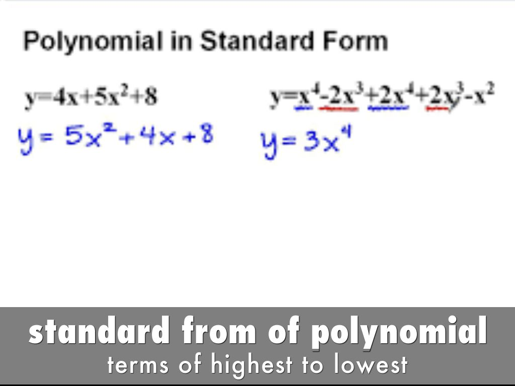 Polynomial function by olveradeliayla standard from of polynomial falaconquin
