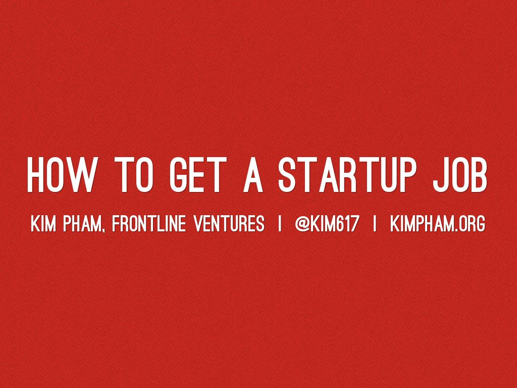 How to get a startup job