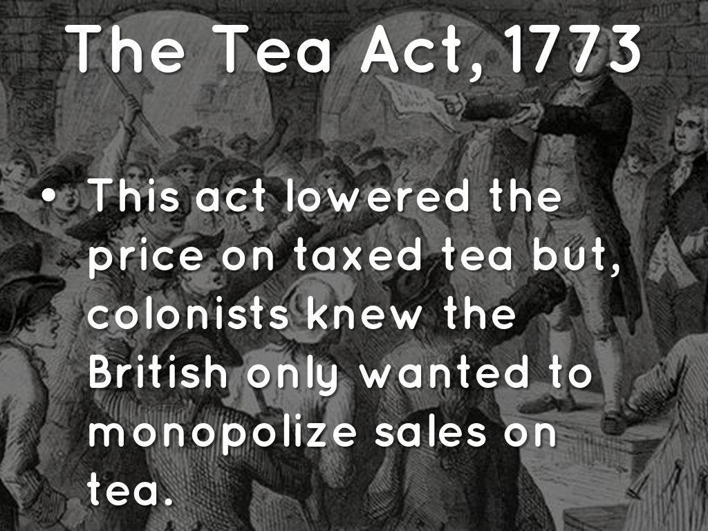 Tea Act Of 1773 Drawing