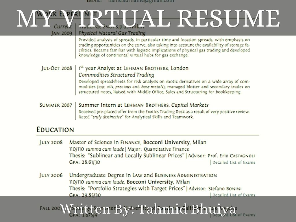 My Virtual Resume  Virtual Resume