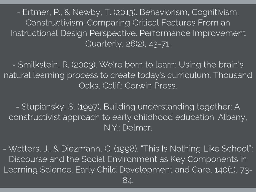 Constructivist Learning Theory: Early Childhood by