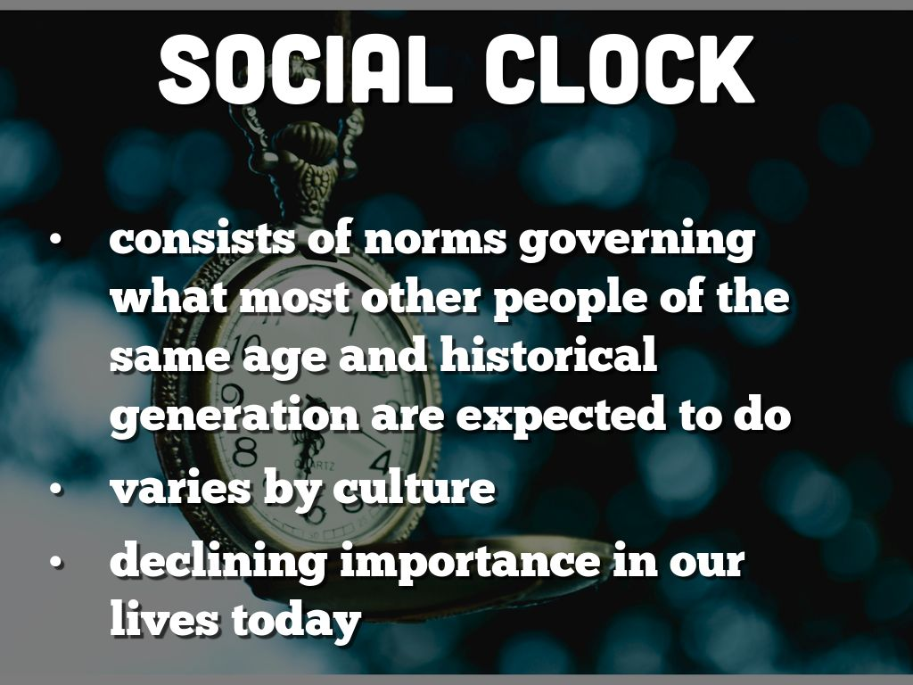 social clock Social clock is a timing of the ticking social adults' beliefs about transition events using theories control and self regulation to examine leadership 21 ap.