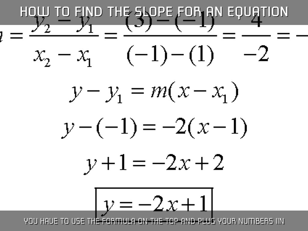 How To Find The Slope For An Equation