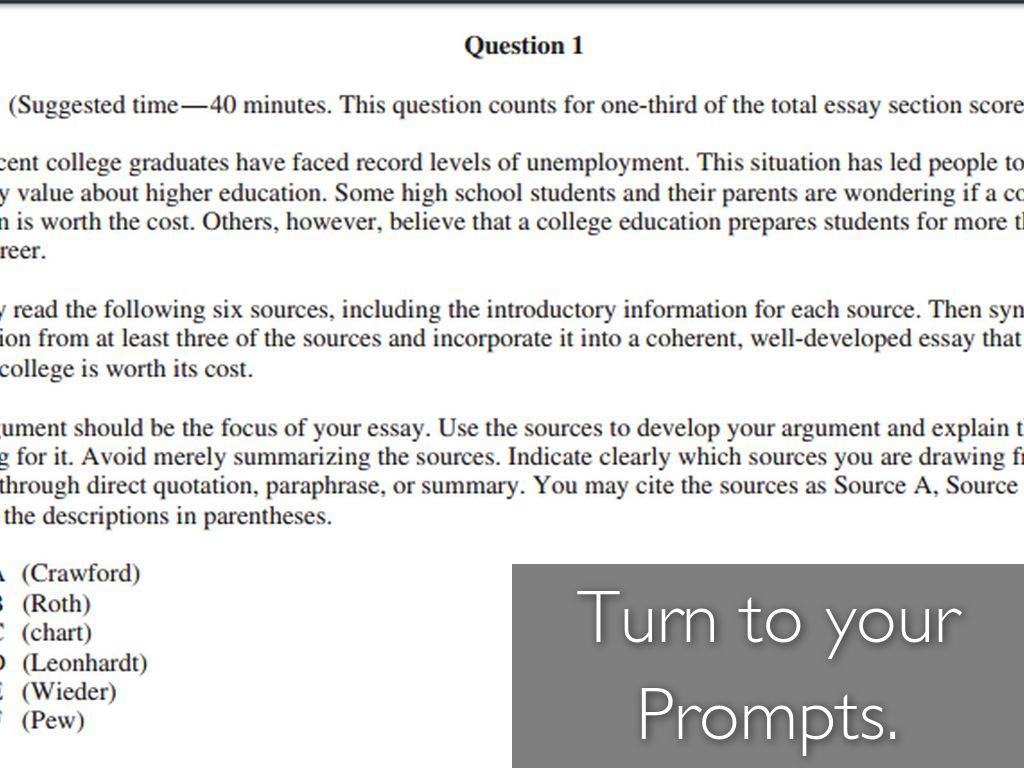 argumentative essay prompts college