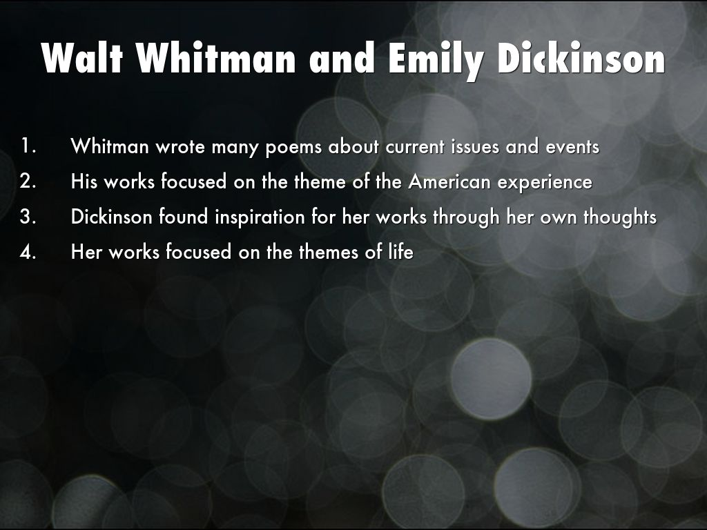a comparison of walt whitmans and emily dickinsons life story and writing styles /12/emily dickinsons female transcendentalist /12/all about nothing the story of my lifertf /9/a comparison and contrast in both as worn by hester and.