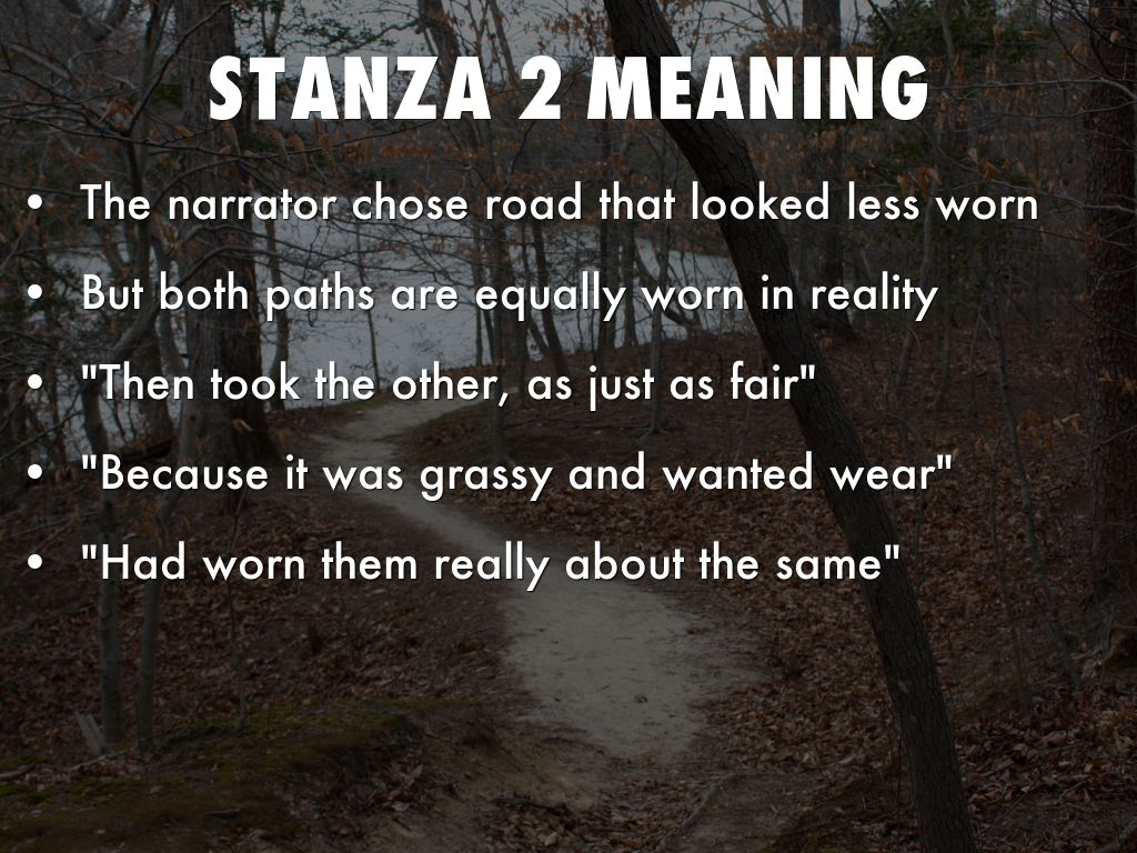 the road not taken stanza 2 summary