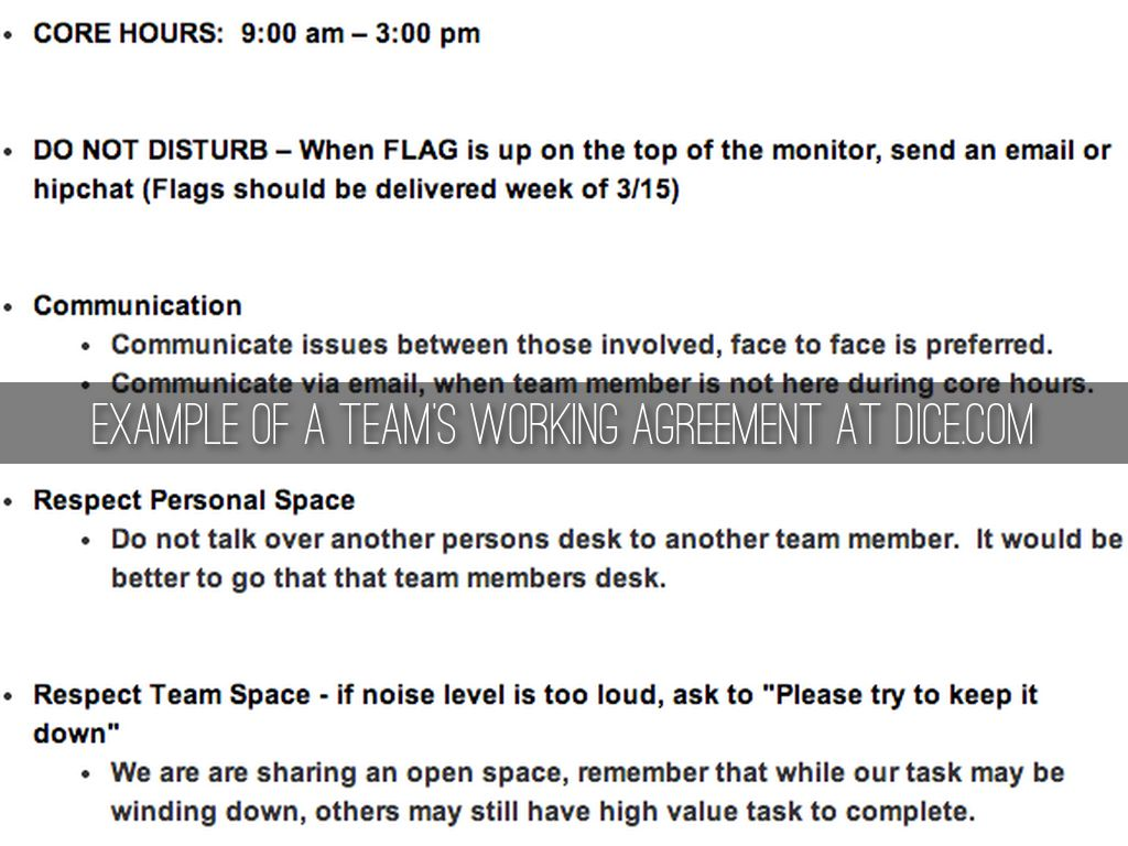 Team working agreements by mirna ban fitzloff example of a teams working agreement at dice platinumwayz