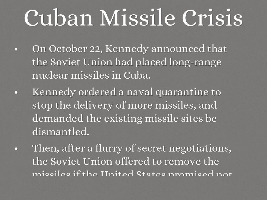 negotiations of the cuban missile crisis The basic facts about cuban missile crisis are well known and as negotiations information to come out about the cuban crisis and demonstrates that.
