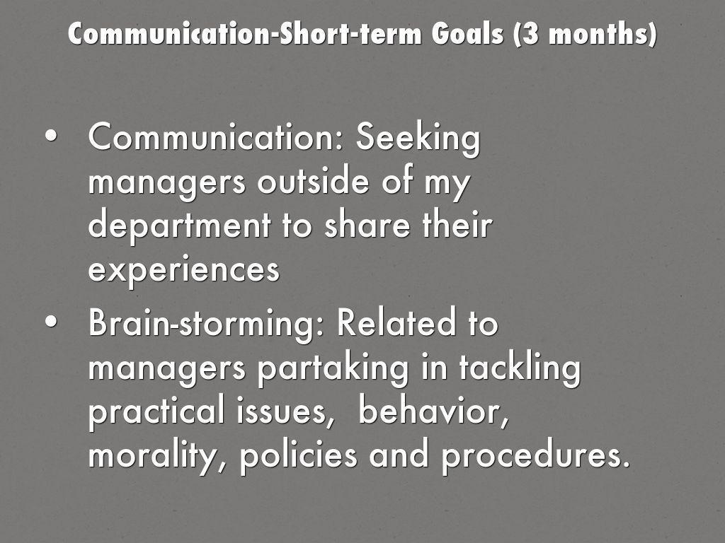 communication short term goals 3 months
