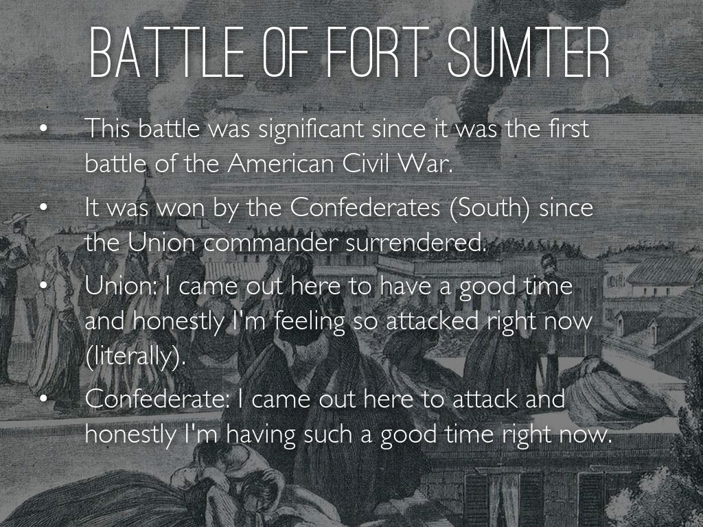 the significance of fort sumter in the civil war Key events and battles of the civil war (answer key) s event date location significance lincoln elected  when fort sumter is attacked, the civil war began.