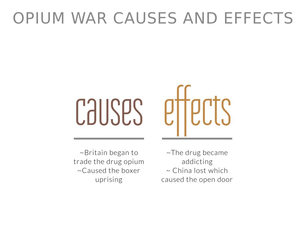causes of opium war The second opium war, the second anglo-chinese war, the second china war, the arrow war, or the anglo-french expedition to china, was a war pitting the british empire and the second french empire against the qing dynasty of china, lasting from 1856 to 1860.