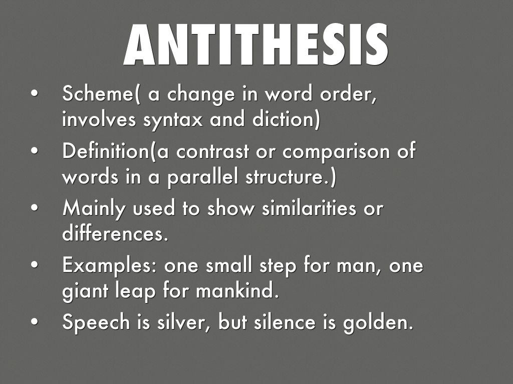 purpose antithesis Device: antithesis origin: from the greek ἀντί (anti) meaning against and θέσις (thesis) meaning position in plain english: contrasting two different (often opposite.