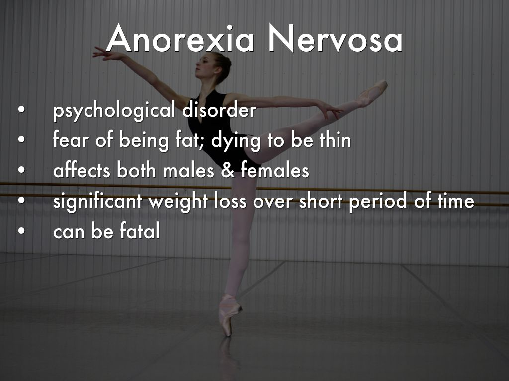 psychological disorders anorexia nervosa Studies have found that possible causes of anorexia include factors such as personality, genetics, environment, biochemistry, and overall psychological and emotional health it is important to realize, however, that these causes of.