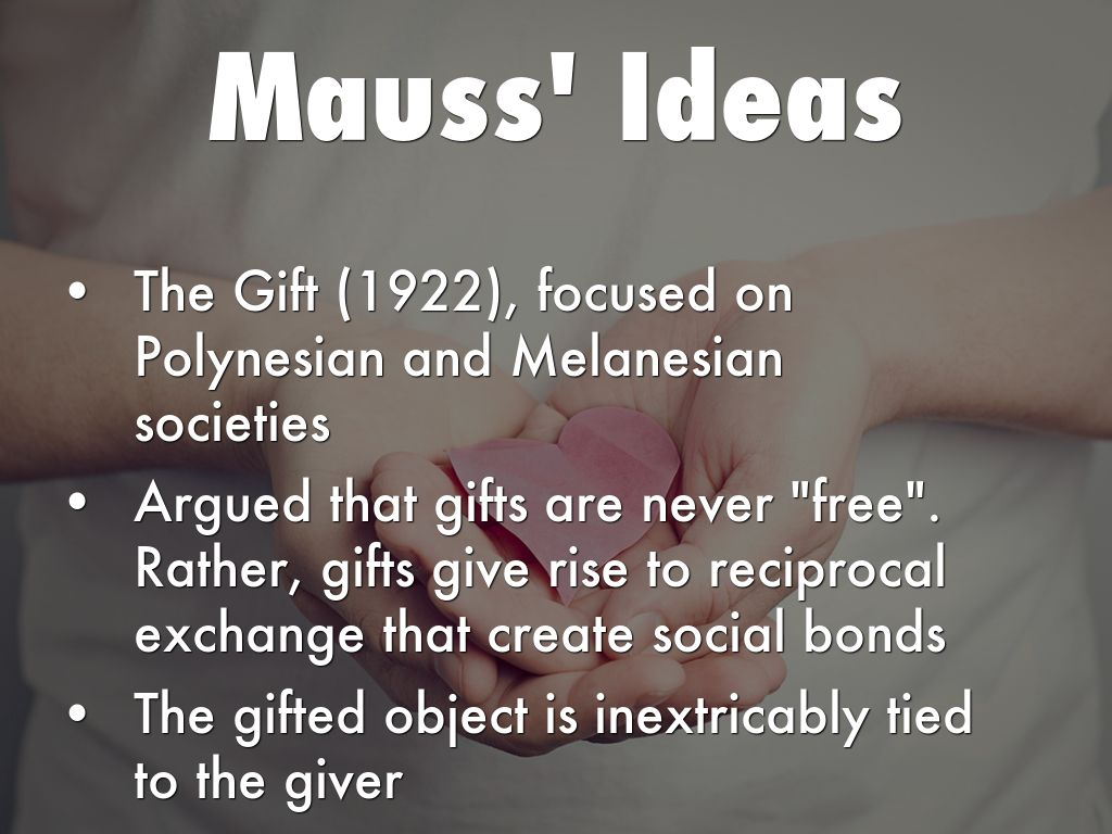 mauss essay gift Marcel mauss (1925) elucidates the deep significance of gifts and gift giving in the first chapter of the gift his paper explores the exchange of gifts with reference to.