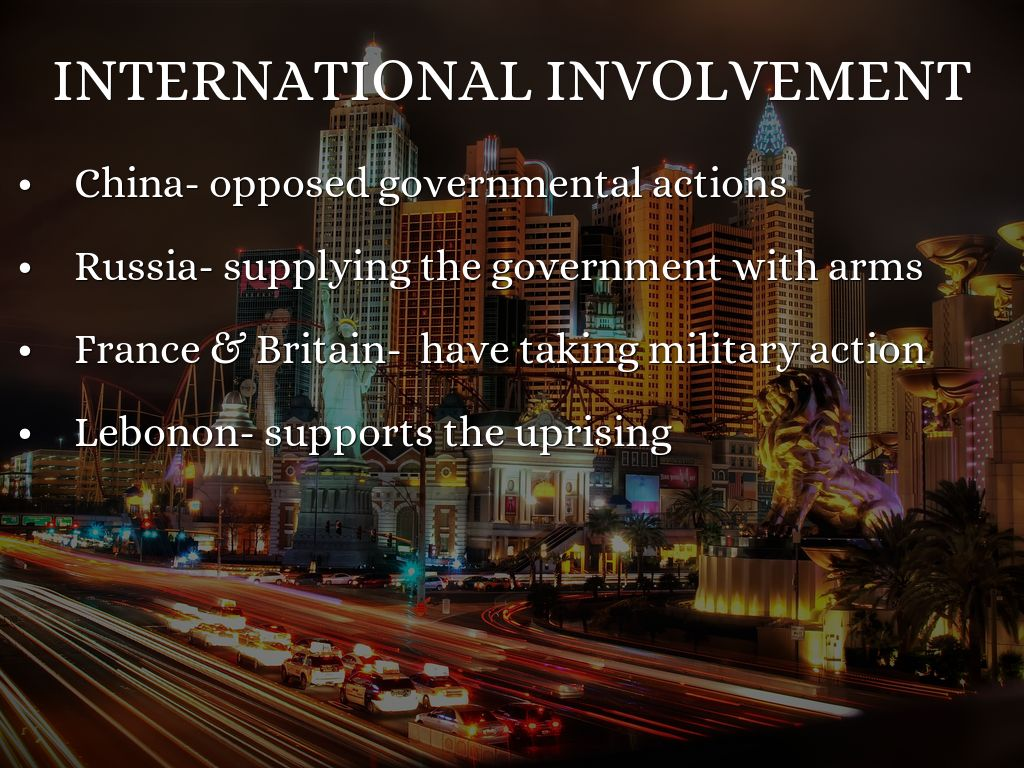 international involvement The conflict in syria has drawn in major global powers, supporting and opposing president bashar al-assad and the myriad rebel groups ranged against him.