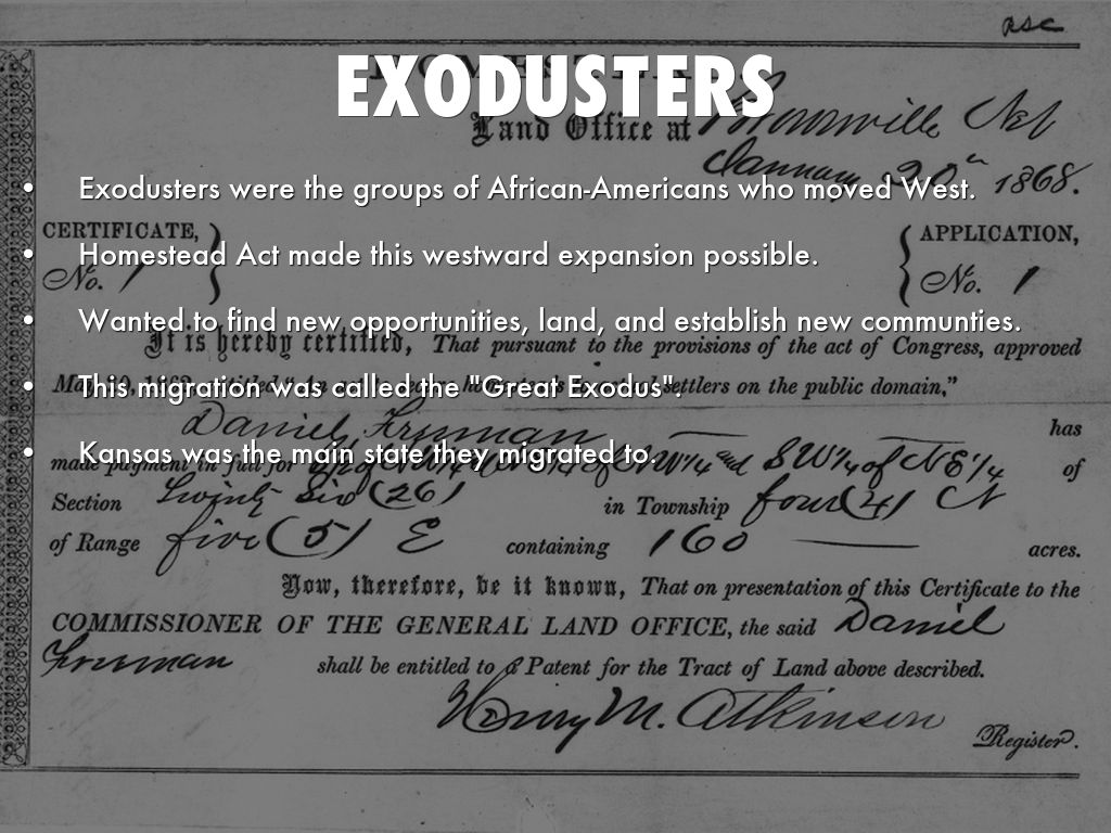 Exodusters by tika for Is there still a homestead act