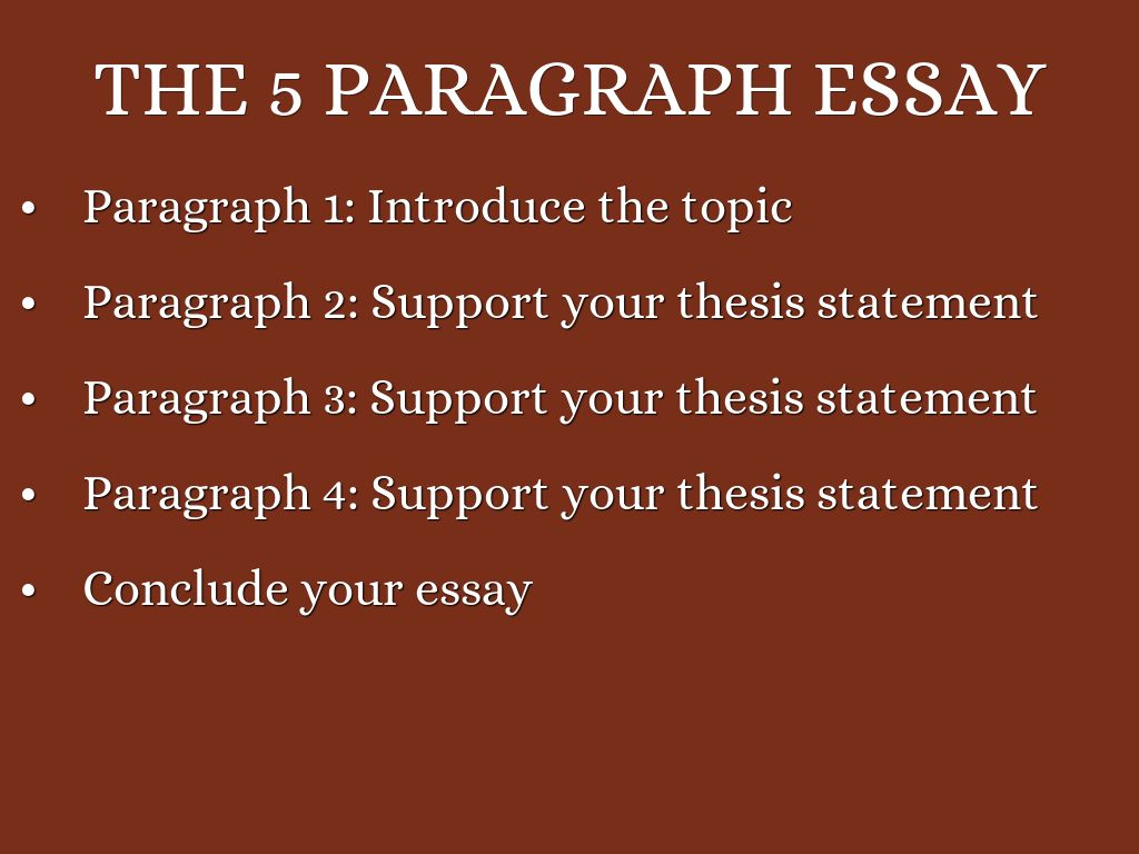 five paragraphs essay The 5-paragraph essay structure is a clear and simple way to effectively tackle just about any essay assignment it is made of five paragraphs, of course these five paragraphs are broken down into an introduction, three body paragraphs, and a conclusion.