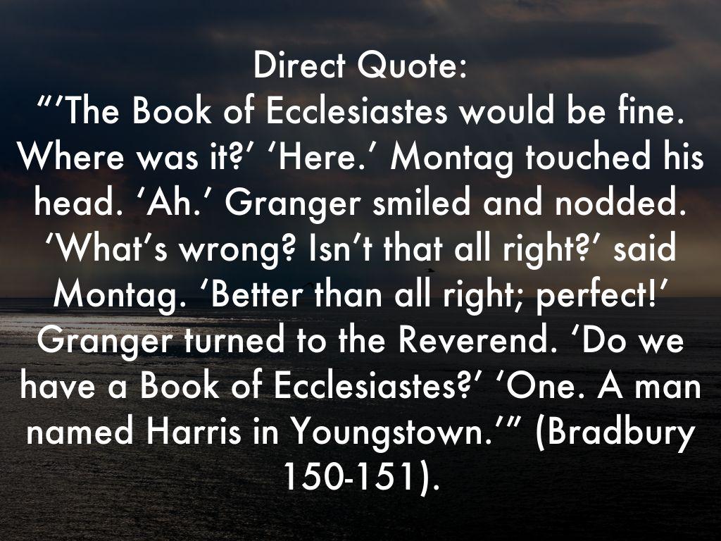 Quotes From Fahrenheit 451 Ecclesiastes In Fahrenheit 451Mswayne8998