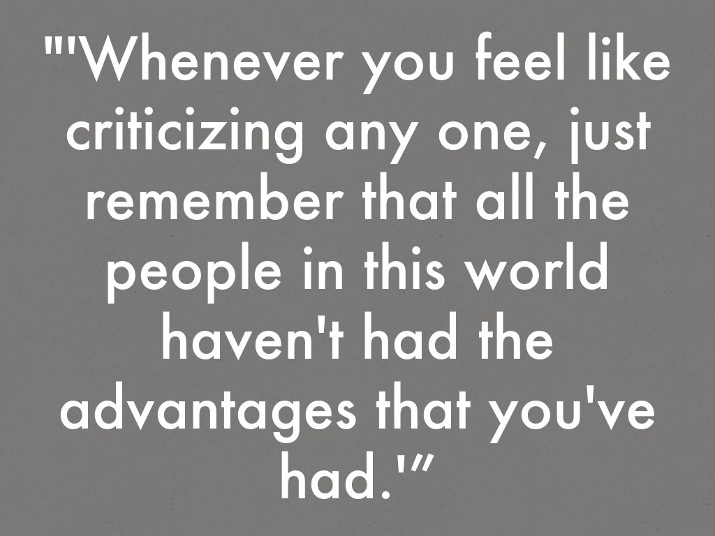 whenever you feel like criticizing anyone great gatsby