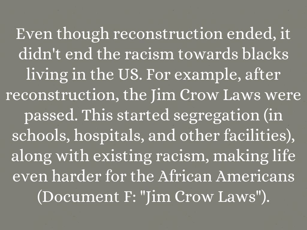 reconstruction and the jim crow laws essay Jim crow laws essay jim crow laws followed the reconstruction period in the american south in the 1880s with the landmark plessy versus.