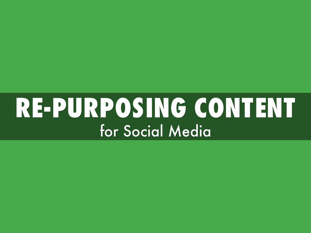 RE-PURPOSING Content for Social Media