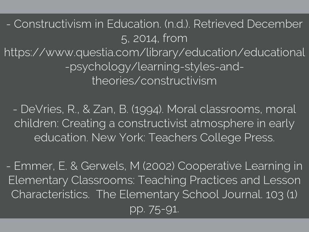 Constructivist Learning Theory  Early Childhood By