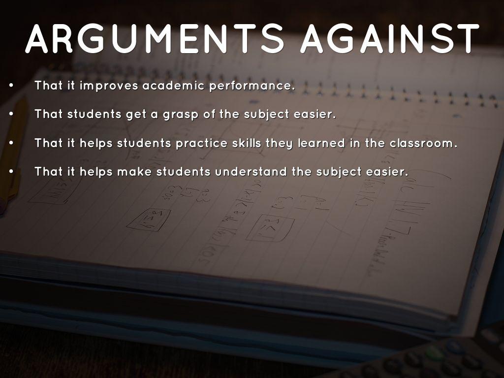 homework for or against