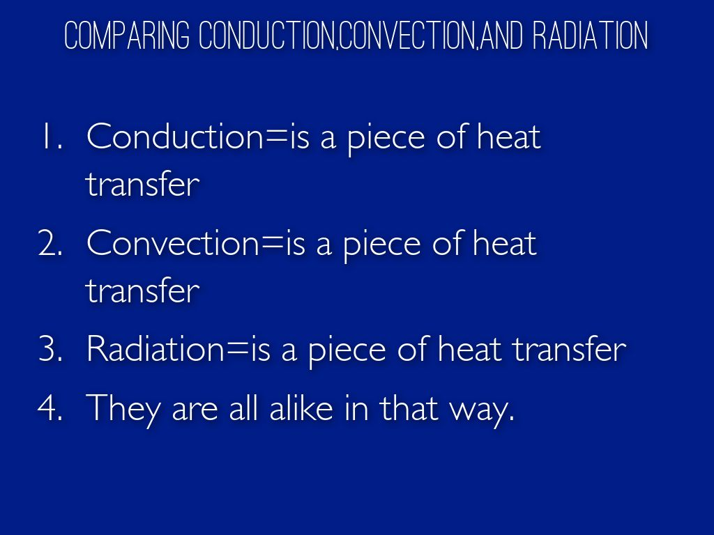 Compare Conduction,Convection,And Radiation by Emma