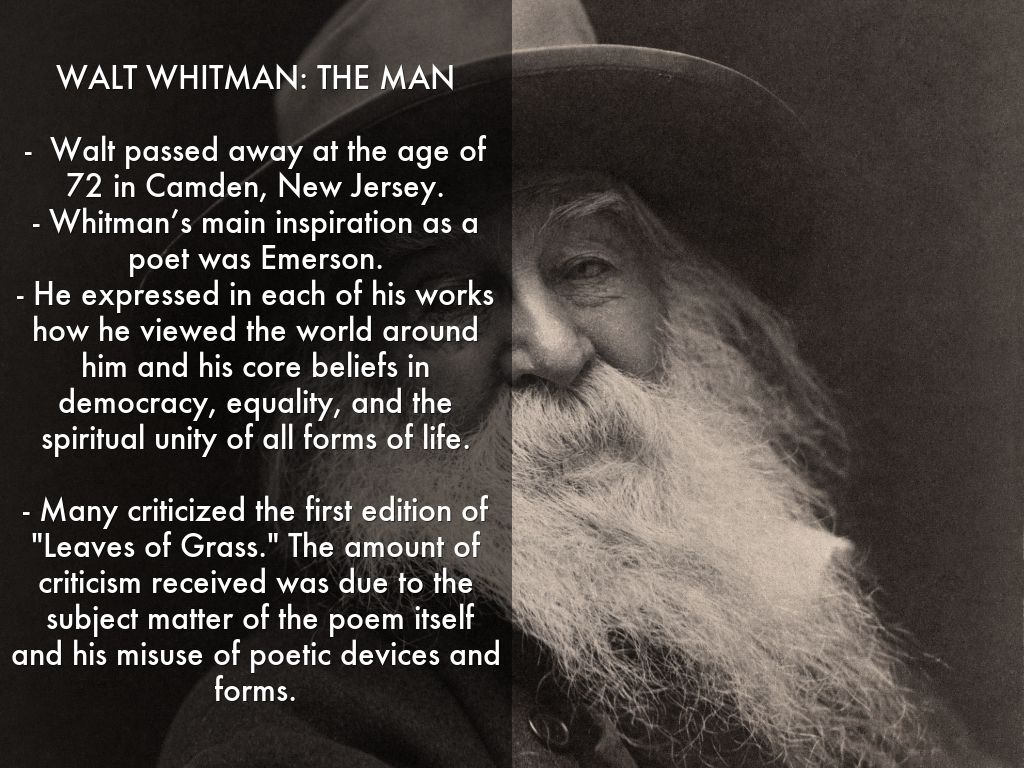 an analysis of the early life and writing work of walt whitman Walt whitman was an american poet who wrote the groundbreaking collection writing the collection drum taps (1865) in connection to the experiences of these final years proved to be both fruitful and frustrating for whitman his life's work received much needed validation in terms of.