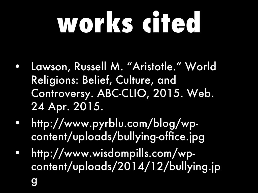 bullying works cited