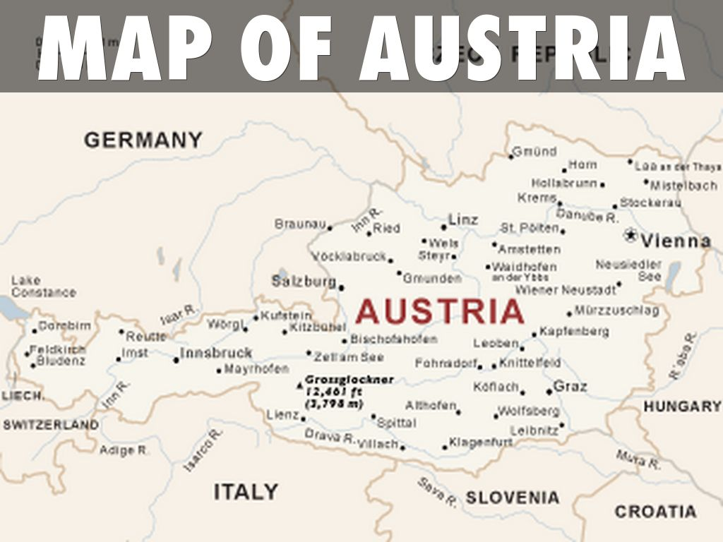 Flag map of austria, physical outside