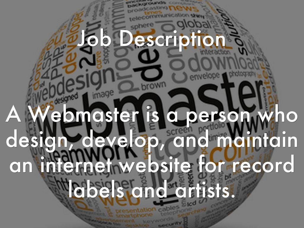 Web Master by vaalspencer – Job Description for Webmaster