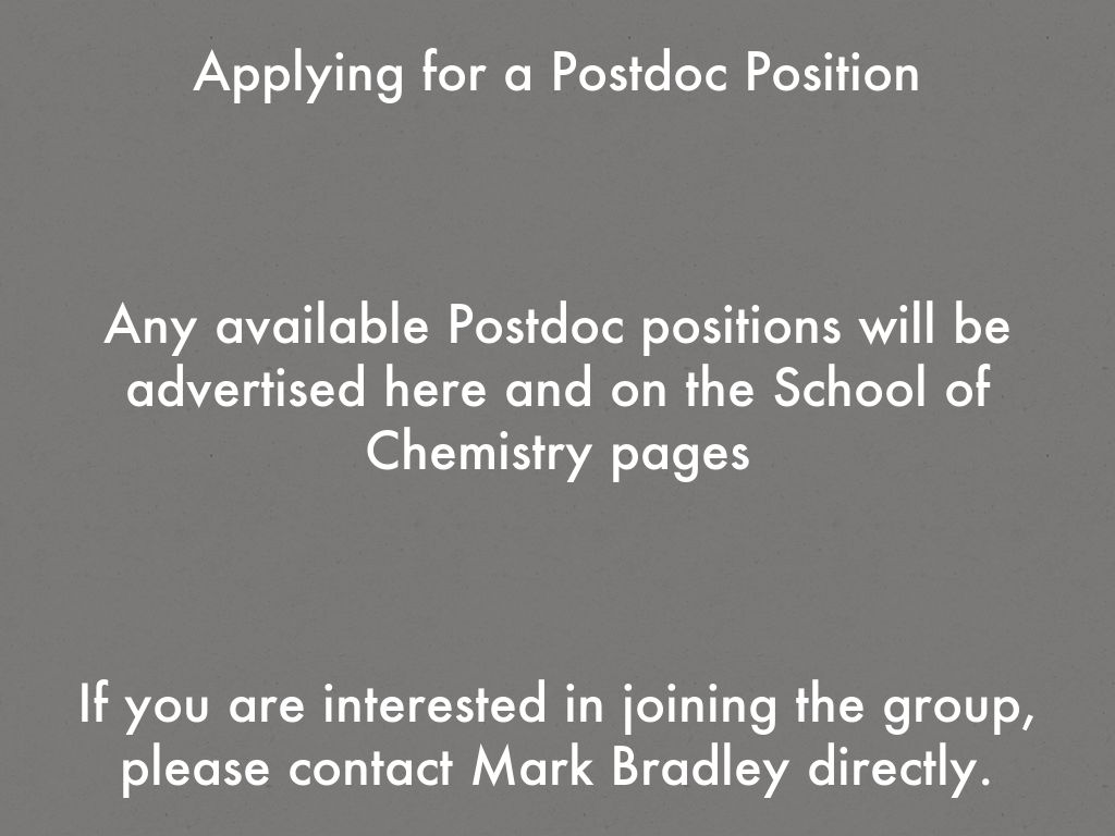 Bradley Research Group: Applying for a PhD-Position by