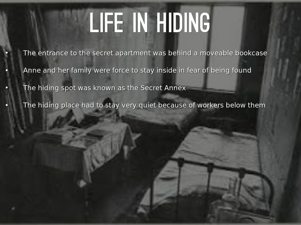 ann frank life in hiding Annelies marie anne frank in which she documents her life in hiding from several films about anne frank appeared her life and writings have inspired a.
