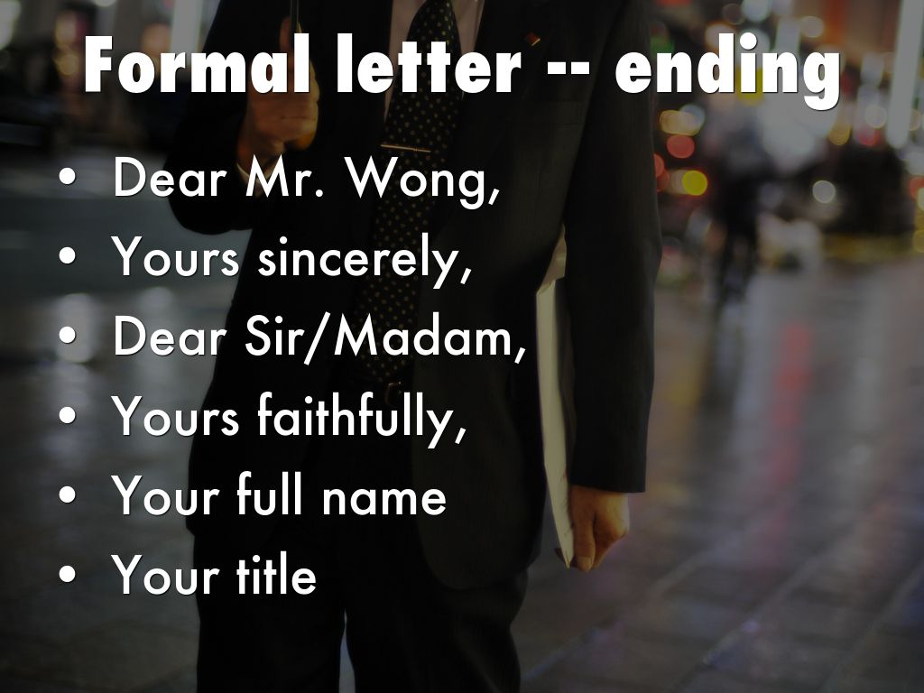 Write A Formal Letter By Ying Ka Chan