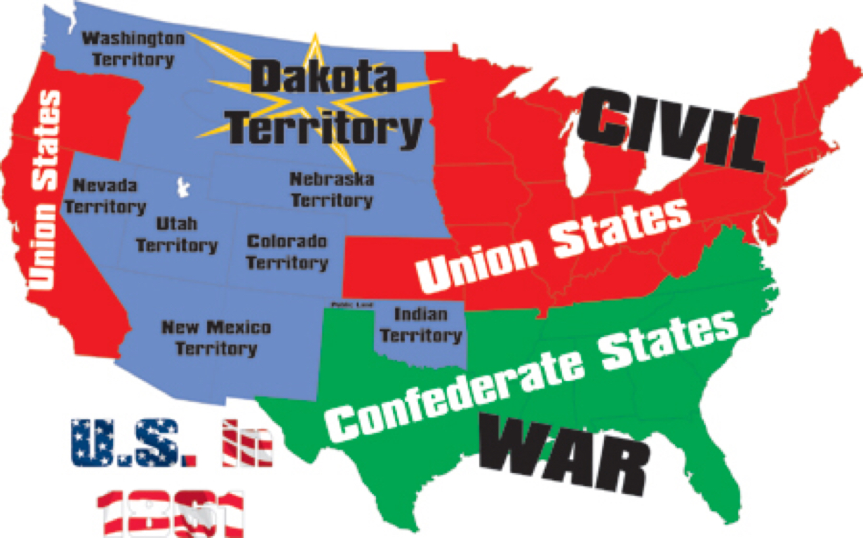US CIVIL WAR By Alejandro Perez - Us north south map