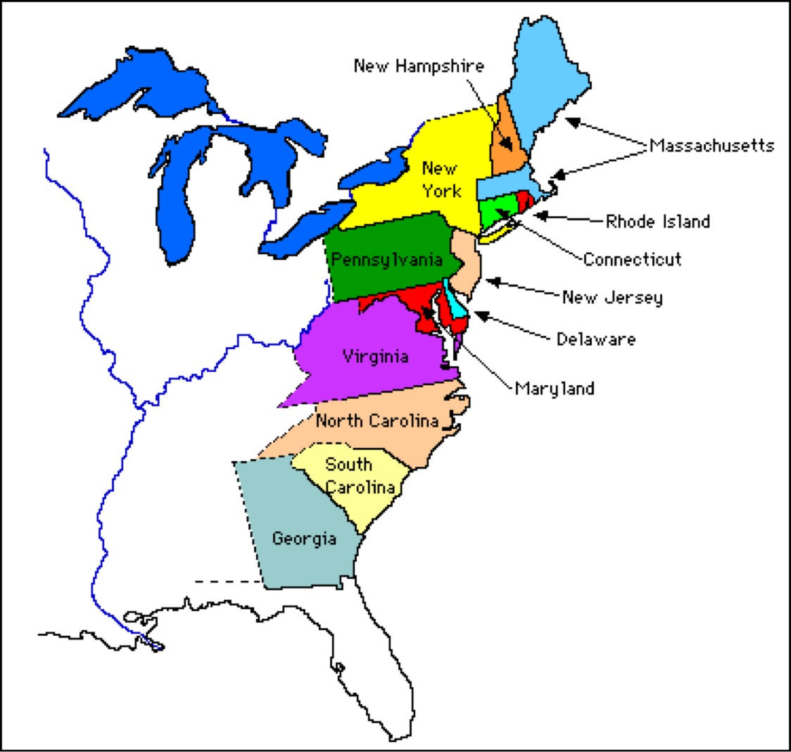 FileThirteen Colonies  Mapfrsvg Wikimedia Commons FileMap - Map 13 original states usa