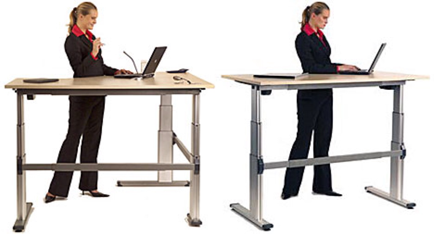 working at a standing desk