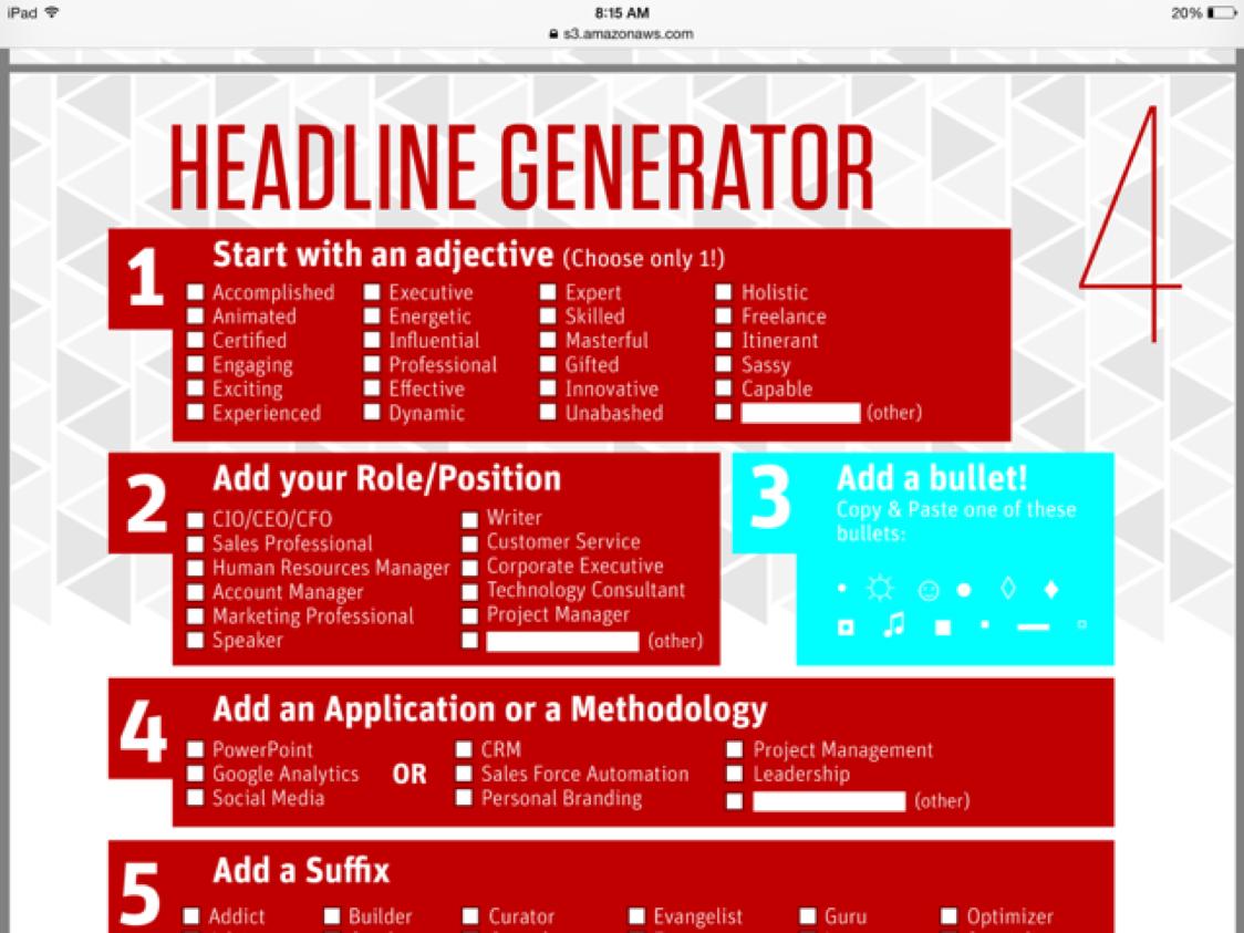 LinkedIn Headline Generator by Diane Greer