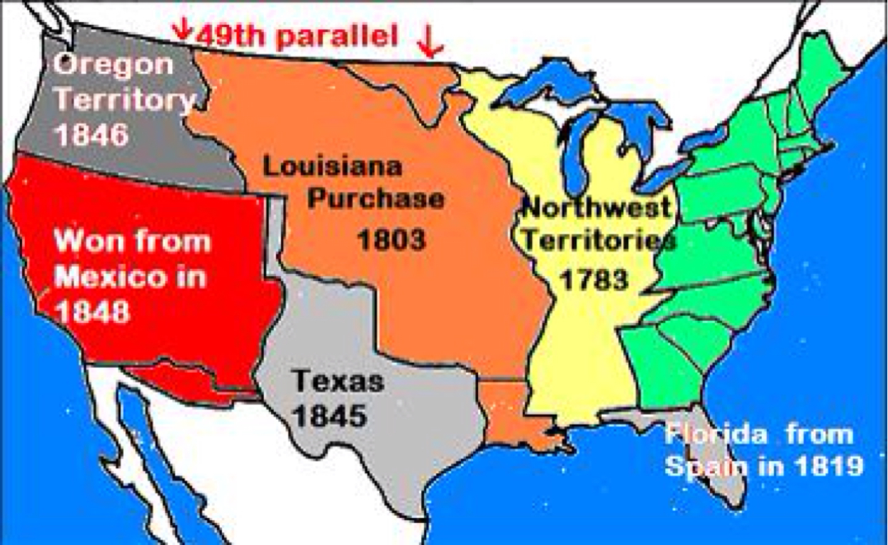 the history of the expansion of america Expansion of america by the end of the year, the size of the country had doubled with the louisiana purchase, bringing under american control land stretching from the gulf of mexico to british canada and from the mississippi river to the rocky mountains.