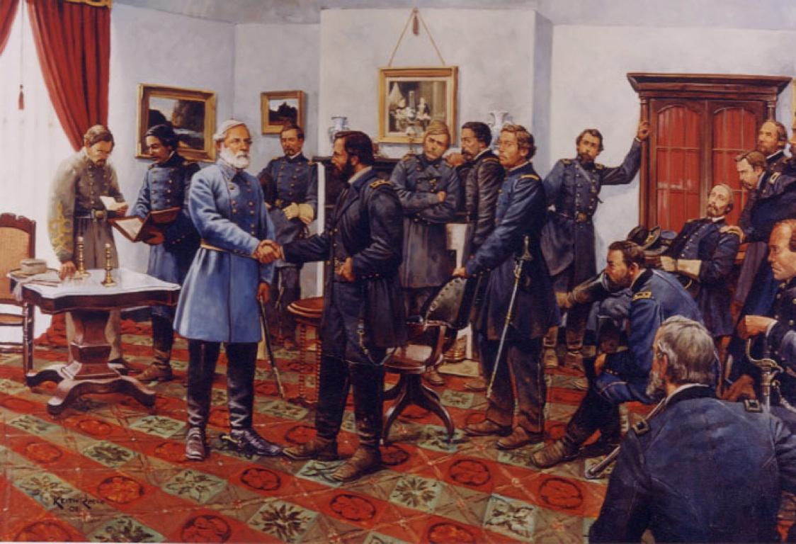 Tranh vẽ lại theo bức ảnh chụp thời đó- Tướng Grant (áo sậm) bắt tay tướng Lee (áo xanh nhạt)