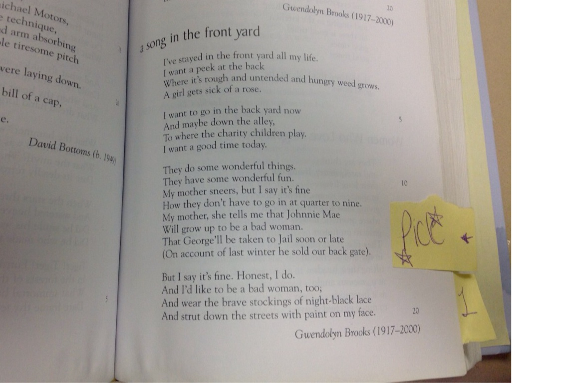 gwendolyn brooks a song in the front yard poem