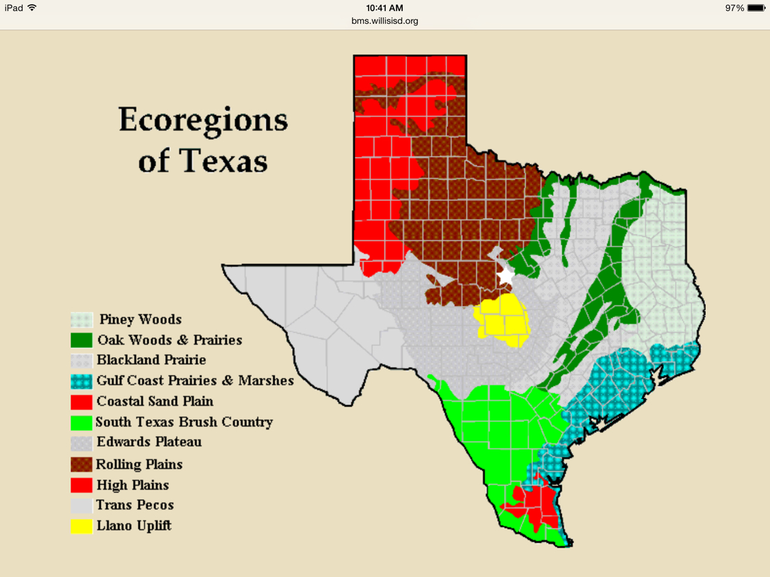 texas ecosystems map biome arlington texas effects of weather on ecoregions marshscience7. Black Bedroom Furniture Sets. Home Design Ideas