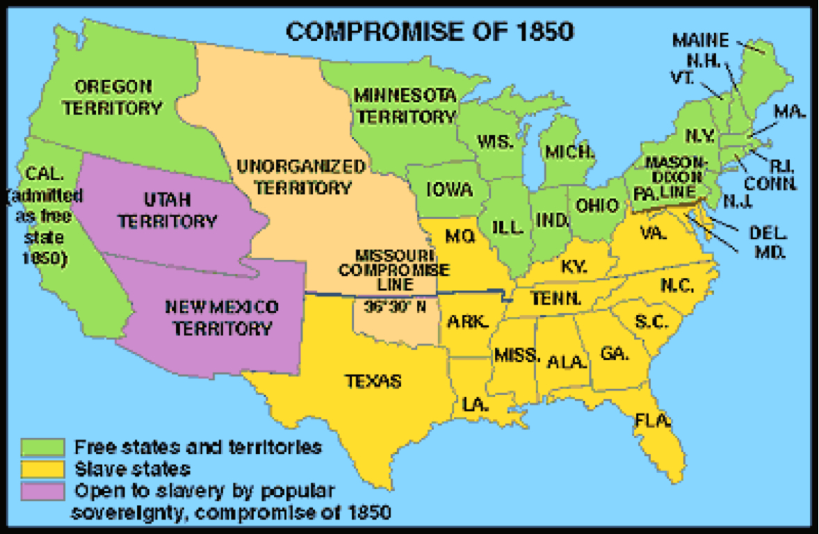 The Compromise Of By Kasey Karol - Compromise of 1850 map