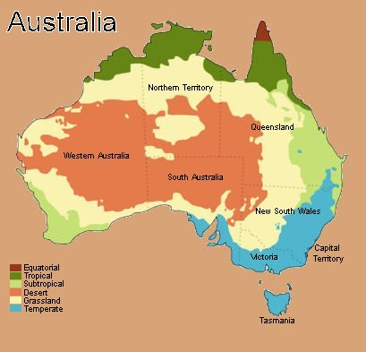 Australia and its different climates by Mrs Davies