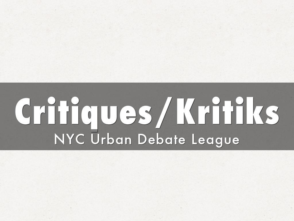 Critiques/Kritiks